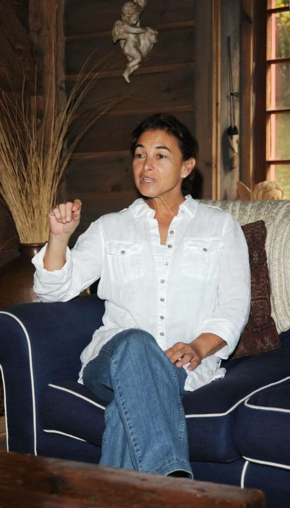 Lynn Carroll, therapist and owner of The Therapy Space, in Sandy Hook, CT discusses the different types of therapy she practices at her studio on Friday, Sept. 25, 2009.