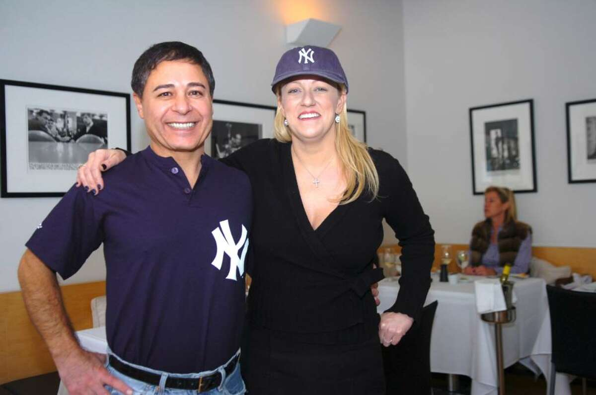 Glenville, Nov. 5, 2009. Reza Khorshidi, chef and co-owner, with Rebecca Kirhoffer, co-owner of Rebecca's restaurant speaking about New York Yankees's Mark Teieira who visited the restaurant 3 weeks ago.