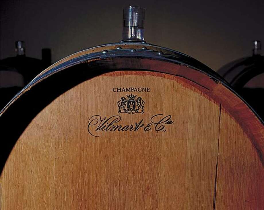 A large oak barrel used to age Champagne in the cellars of Vilmart & Cie. in Rilly-la-Montagne, France. Photo: Courtesy Vilmart