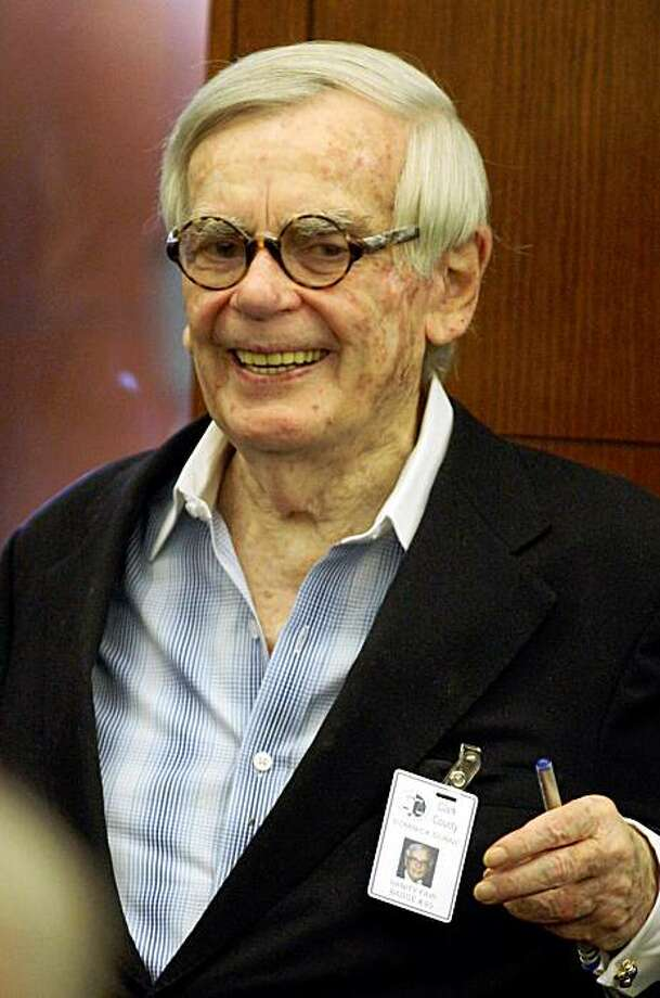 (FILES): This September 24, 2008 file photo shows US crime writer Dominick Dunne at O.J. Simpson's trial at the Clark County Regional Justice Center in Las Vegas, Nevada. Dunne, 83, who had been battling bladdrer cancer, died on August 26, 2009 at his home in Manhattan.         Files/Daniel Gluskoter-Pool/Getty Images/AFP (Photo credit should read POOL/AFP/Getty Images) Photo: Pool, AFP/Getty Images