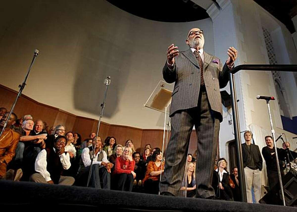 The iconic Rev. Cecil Williams delivered the sermon to the nine o'clock service at Glide Memorial Church in San Francisco, CA Sunday November 29, 2009.