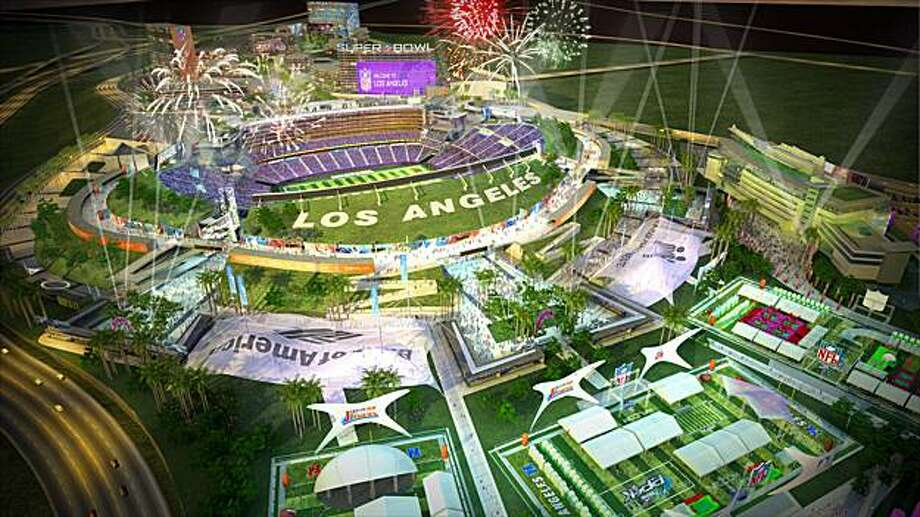 An artist's rendering of the proposed Los Angeles Stadium is seen in this publicity photo released April 17, 2008. Real estate billionaire Edward P. Roski, Jr. unveiled plans for a state-of-the-art, 75,000-seat stadium in the City of Industry that could help lure an NFL team back to Los Angeles after an absence of 14 years.  REUTERS/losangelesfootballstadium.com/Handout  (UNITED STATES).  NO SALES. NO ARCHIVES. FOR EDITORIAL USE ONLY. NOT FOR SALE FOR MARKETING OR ADVERTISING CAMPAIGNS. Photo: HO, REUTERS