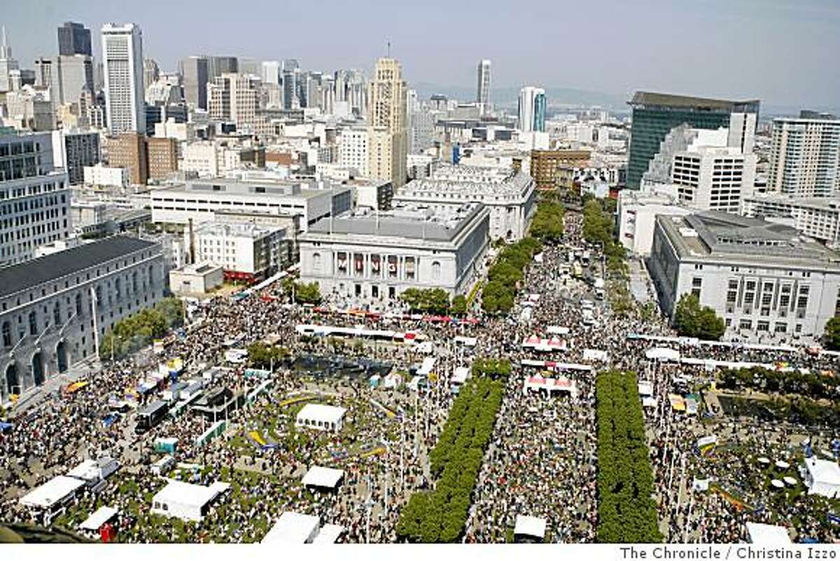The view of the 38th Annual San Francisco LGBT Pride Celebration & Parade in the Civic Center from atop the City Hall dome. Photo by Christina Izzo / The Chronicle