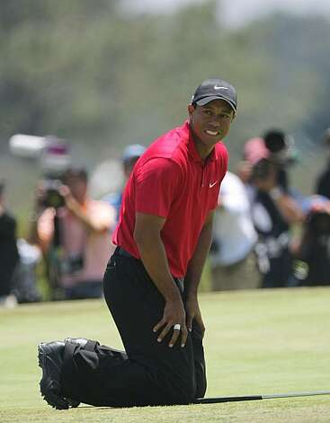 SAN DIEGO - JUNE 16: (FILE PHOTO) Tiger Woods reacts to missing his birdie putt on the 19th hole of the playoff during the playoff round of the 108th U.S. Open at the Torrey Pines Golf Course (South Course) on June 16, 2008 in San Diego, California. According to reports on June 18, 2008 Woods will be out for the remainder of the season and will need further surgery on his left knee.  (Photo by Doug Pensinger/Getty Images) Photo: Doug Pensinger, Getty Images