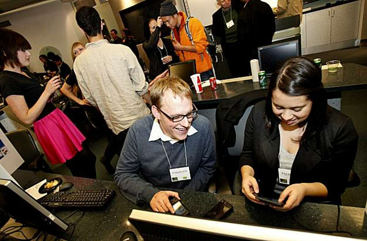 Christopher Witte (left) and Elisa Miguelena developed an application called Emergency Alert. Google worked with the University of San Francisco and Prof. David Wolber to try out its application Inventor for Android, a development platform that makes it easy for non-techies to write apps for Android mobile phones.