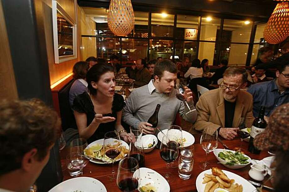 Whitney Barnecut, William Newsom, and Brennan Newsom share dinner at South, at 330 Townsend. South is the only Australian restaurant in San Francisco. It was opened celebrity chef, Luke Mangan. Mike Kepka/The Chronicle Photo: Mike Kepka, The Chronicle