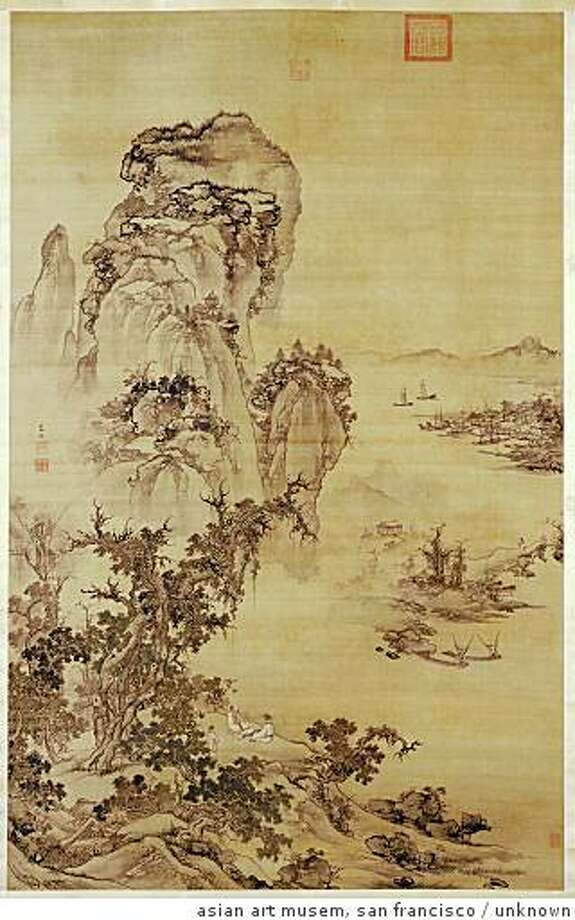 """""""Looking at a misty river at dusk"""" (reign of the Hongzhi emperor (1488-1505) or the Zhengde emperor (1506-1521)) ink and colors on silk by Zhu Duan.Palace Museum, BeijingLooking at a misty river at duskBy Zhu Duan (Chinese, 1441? after 1500)Reign of the Hongzhi emperor (1488-1505) or the Zhengde emperor (1506-1521)Hanging scroll, ink and colors on silkPalace Museum, Beijing cat. no. 137 Photo: Unknown, Asian Art Musem, San Francisco"""