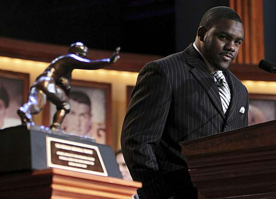 Tears run down the face of Alabama running back Mark Ingram as he becomes emotional while making his acceptance speach after being named the 75th Heisman Trophy winner on Saturday, Dec. 12, 2009 in New York.  (AP Photo/Kelly Kline, Pool) Photo: Kelly Kline, AP