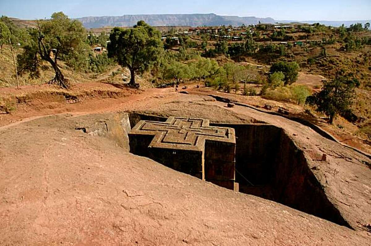 Bet Giyorgis, the most famous and visually perfect of Lalibela's 12th and 13th century rock-hewn churches.