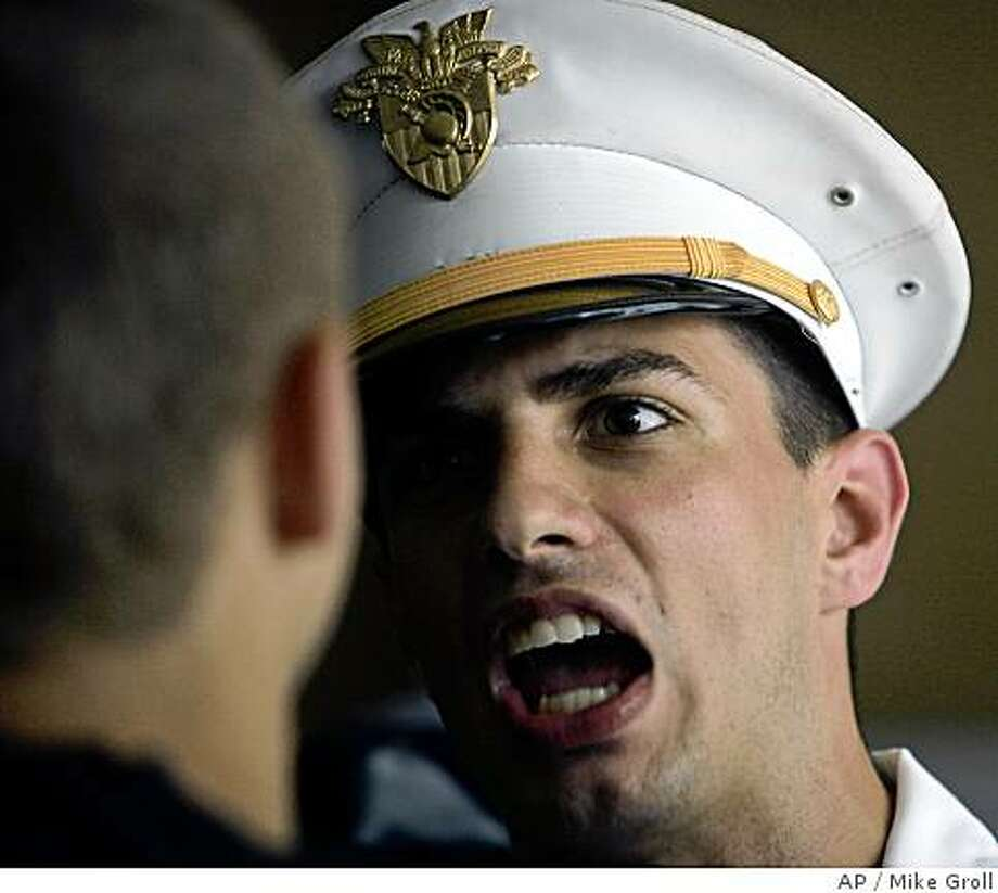 Cadet Sean Davies shouts at a volunteer cadet during an R-Day preparation event at the United States Military Academy in West Point, N.Y., Friday, June 27, 2008.  (AP Photo/Mike Groll) Photo: Mike Groll, AP