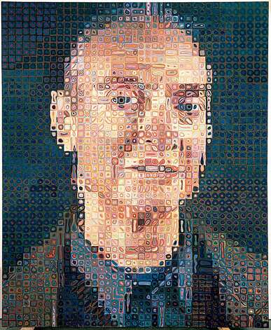 "Roy I 1994, oil on canvas, 8' 6"" x 84"" by Chuck Close Photo: Courtesy Of Artist And PaceW, Doris & Donald Fisher Collection"