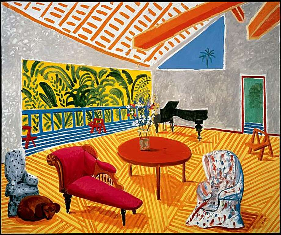 "Interior with Sun and Dog 1988, oil on canvas, 60"" x 72"" by David Hockney Photo: David Hockney, Doris & Donald Fisher Collection"