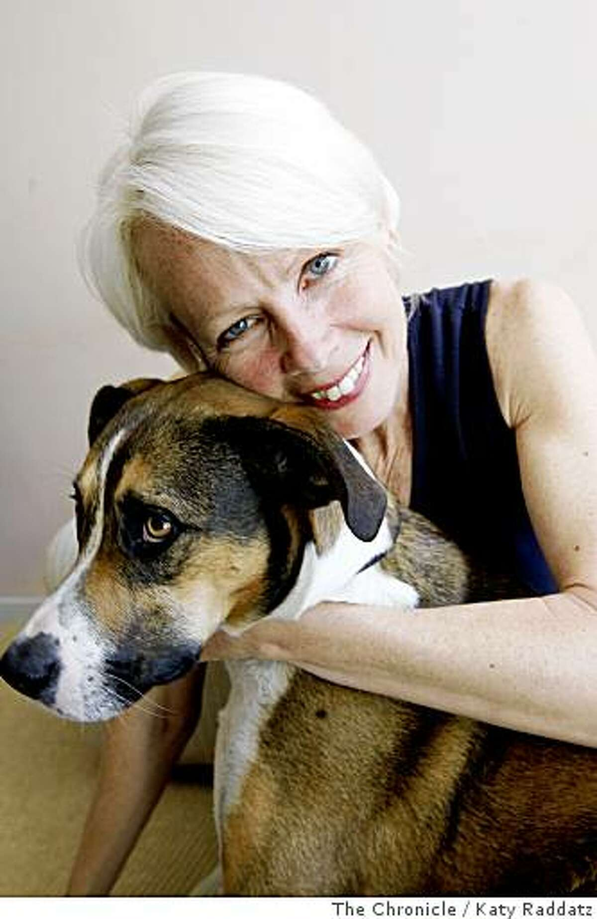 """Joan Jeanrenaud is a cellist, formerly with the Kronos Quartet. She poses for a portrait with her dog """"Jack"""" in her home in San Francisco, Calif. on June 18, 2008.Photo by Katy Raddatz / The Chronicle"""