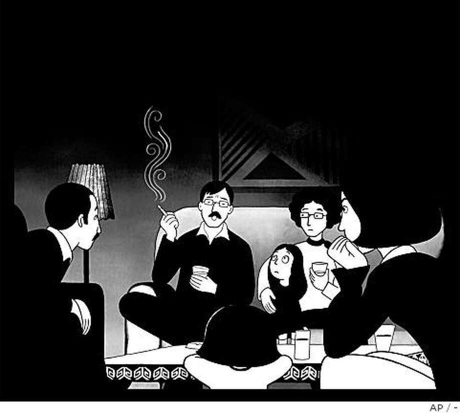 "This undated illustration provided courtesy of Sony Pictures Classics shows Marjane, center, as she listens to Siamek, second from left, from the film ""Persepolis."" Photo: -, AP"