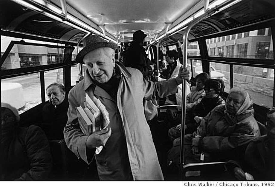 "**FILE** In this 1992 file photo from the Chicago Tribune, Studs Terkel takes a bus home after a stint at the WFMT studio. Terkel, the ageless master of listening and speaking, a broadcaster, activist and Pulitzer Prize-winning author whose best-selling oral histories celebrated the common people he liked to call the ""non-celebrated,"" died Friday. He was 96. (AP Photo/Chicago Tribune, Chris Walker, File) **MANDATORY CREDIT, CHICAGO LOCALS OUT, ROCKFORD REGISTER STAR OUT, MAGS OUT, NO SALES, TV OUT** Photo: Chris Walker, Chicago Tribune, 1992"