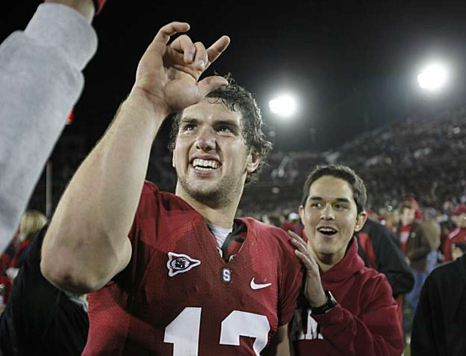 Stanford quarterback Andrew Luck (12) celebrates after Stanford defeated Notre Dame 45-38 in their NCAA college football game in Stanford, Calif., Saturday, Nov. 28, 2009.  (AP Photo/Paul Sakuma) Photo: Paul Sakuma, AP