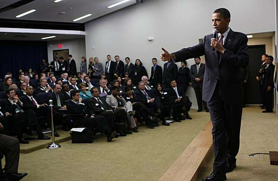 President Barack Obama speaks at the close of the Jobs and Economic Growth Forum at the Eisenhower Executive Office Building across from the White House in Washington, Thursday, Dec. 3, 2009. (AP Photo/Charles Dharapak) Photo: Charles Dharapak, AP