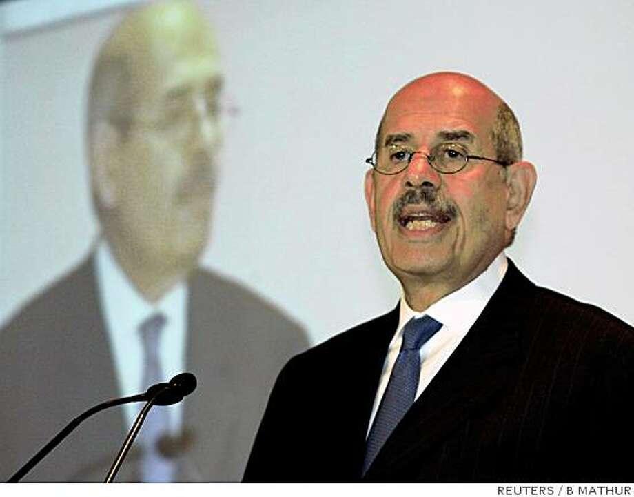 "REFILE - ADDITIONAL CAPTION International Atomic Energy Agency (IAEA) Director General Mohamed ElBaradei speaks during the ""Hindustan Times Leadership seminar"" in New Delhi October 12, 2007. REUTERS/B Mathur (INDIA) Photo: B MATHUR, REUTERS"