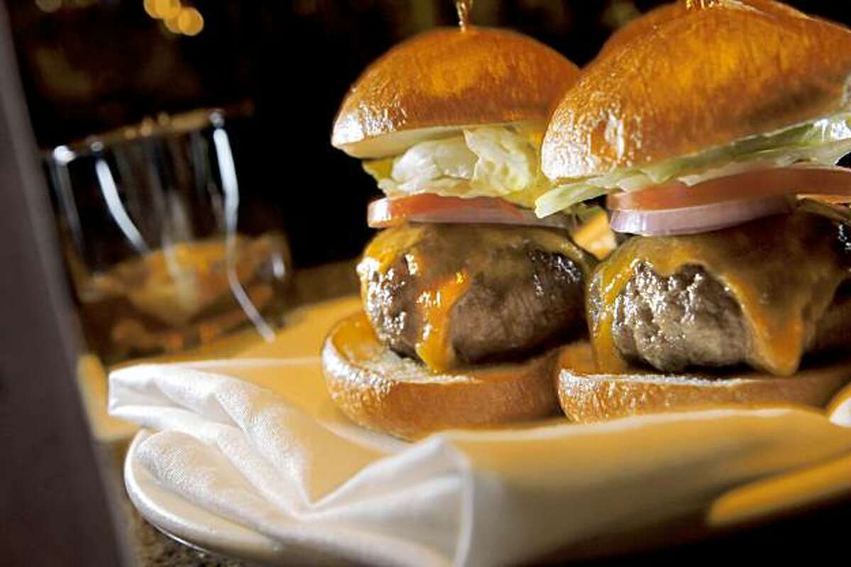 The Three Prime Cheeseburgers, served in the bar at Morton's Steakhouse. Barbites feature on Mortons near Union Square.