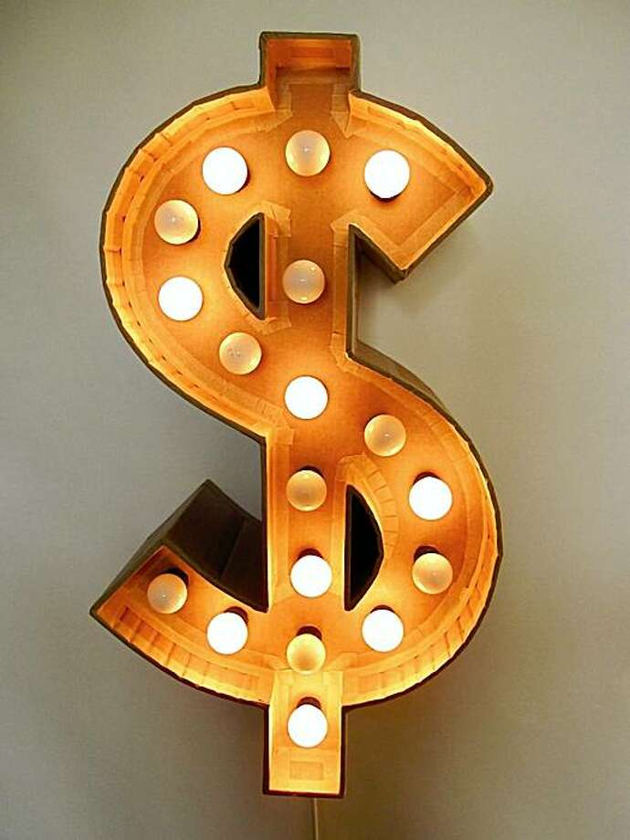 "Dave Meeker's ""Dollar Sign,"" made of cardboard, lamps, wire, time relay, is part of ""Elemental"" at Mercury 20. Photo: Dave Meeker"