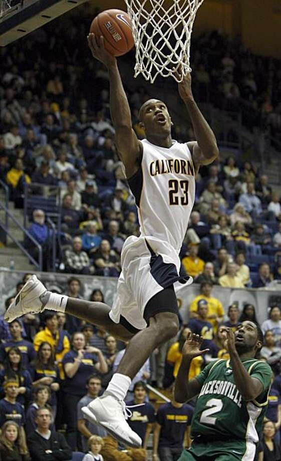 California's Patrick Christopher makes a lay up over Jacksonville's Russell Powell (2) during the second half of an NCAA college basketball game Tuesday, Nov. 24, 2009, in Berkeley, Calif. (AP Photo/Ben Margot) Photo: Ben Margot, AP