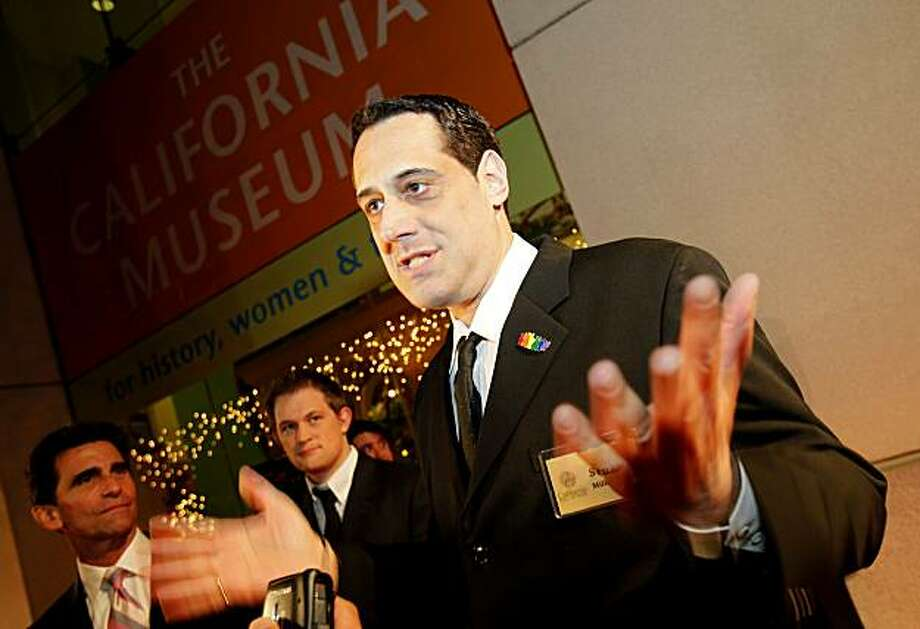 Harvey Milk's nephew Stuart Milk stops to talk with a reporter Tuesday before the slain San Francisco supervisor was inducted into the California Hall of Fame in Sacramento. Photo: Brant Ward, The Chronicle