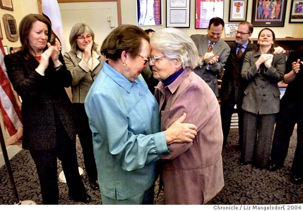 ###Live Caption:A69C0585.JPG Phyllis Lyon, left, and Del Martin, who have been together for 51 years, embrace after their marriage at city Hall. They are the first legally married same-sex couple in San Francisco. In the background from left are Kate Kendell, Executive director of the National Center for Lesbian Rights, and Roberta Achtenberg, Senior Vice President of the San Francisco chamber of Commerce. In the background on the right are members of Mayor Gavin Newsom's staff, including Steve Kawa, center, chief of Staff and Joyce Newstat, Director of Policy, far right.. The first legally married same-sex couple in San Francisco are married by City assessor/Recorder mabel Teng in her office at City Hall. Phyllis Lyon and Del Martin, who have been together for 51 years say their vows. LIZ MANGELSDORF/ The Chronicle MAGS OUT/TV OUT/NO SALES Phyllis Lyon (left) and Del Martin, who have been together for 51 years, embrace after their historic marriage ceremony at City Hall. Phyllis Lyon (left) and Del Martin, lesbian activists who have been together for 51 years, embrace after their marriage ceremony at San Francisco City Hall. Ran on: 06-20-2004 Dinh Ngoc Tran, 88, left, and his wife, Nhan Thi Tran, 84, have been together since 1932. Ran on: 08-13-2004 Phyllis Lyon (left) and Del Martin, together for 51 years, were the first of 90 same-sex couples to be married at City Hall on Feb. 12. ALSO RAN 12/26/04 Ran on: 02-12-2005 Ran on: 02-12-2005 Ran on: 10-21-2007 San Francisco Mayor Gavin Newsom, who weathered a scandal earlier this year, faces no significant challengers in his bid for re-election. ALSO Ran on: 10-21-2007 San Francisco Mayor Gavin Newsom, who weathered a scandal earlier this year, faces no significant challengers in his bid for re-election.###Caption History:A69C0585.JPG Phyllis Lyon, left,...