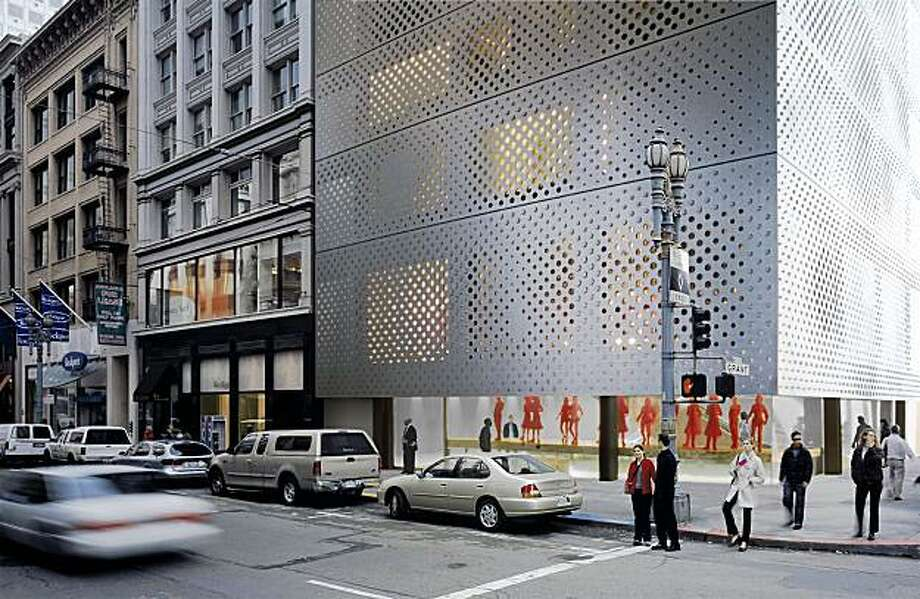 Computer redition of 10-story Prada West Coast Headquarters that would have a stainless steel exterior. Photo: Prada