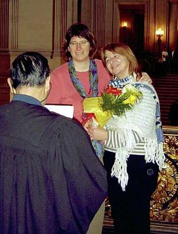 Marriage photos at City Hall from Demece Garepis and Sally Holland Demece Garepis (left) and Sally Holland have been a couple since they met at a dull party at the University of Chicago in 1982. Photo: Handout