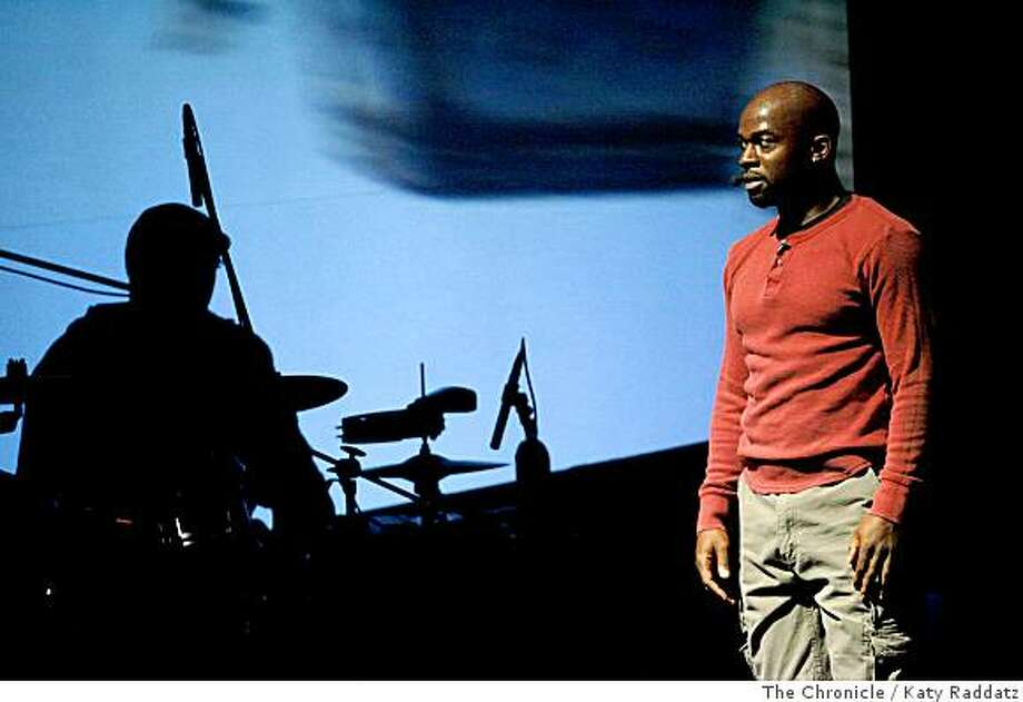 Marc Bamuthi Joseph performs The Break/s: A Mixtape for Stage, a hip-hop multimedia piece at Yerba Buena Center for the Arts, in San Francisco, Calif.  on Thursday,  June 19, 2008.Photo by Katy Raddatz / The Chronicle Photo: Katy Raddatz, The Chronicle
