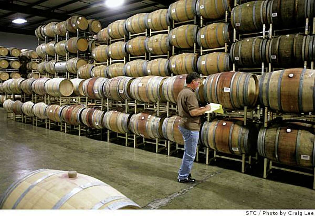 Mike Drown tracking barrel numbers at The Ranch, a new winemaking facility in St. Helena, Calif., on June 16, 2008. This was the Sutter Home winery where it used to make all it's white zinfandel. Now it's a boutique facility where winemakers produce top-line cabernets and other wines. Mike Drown works for The Ranch.Photo by Craig Lee / The Chronicle