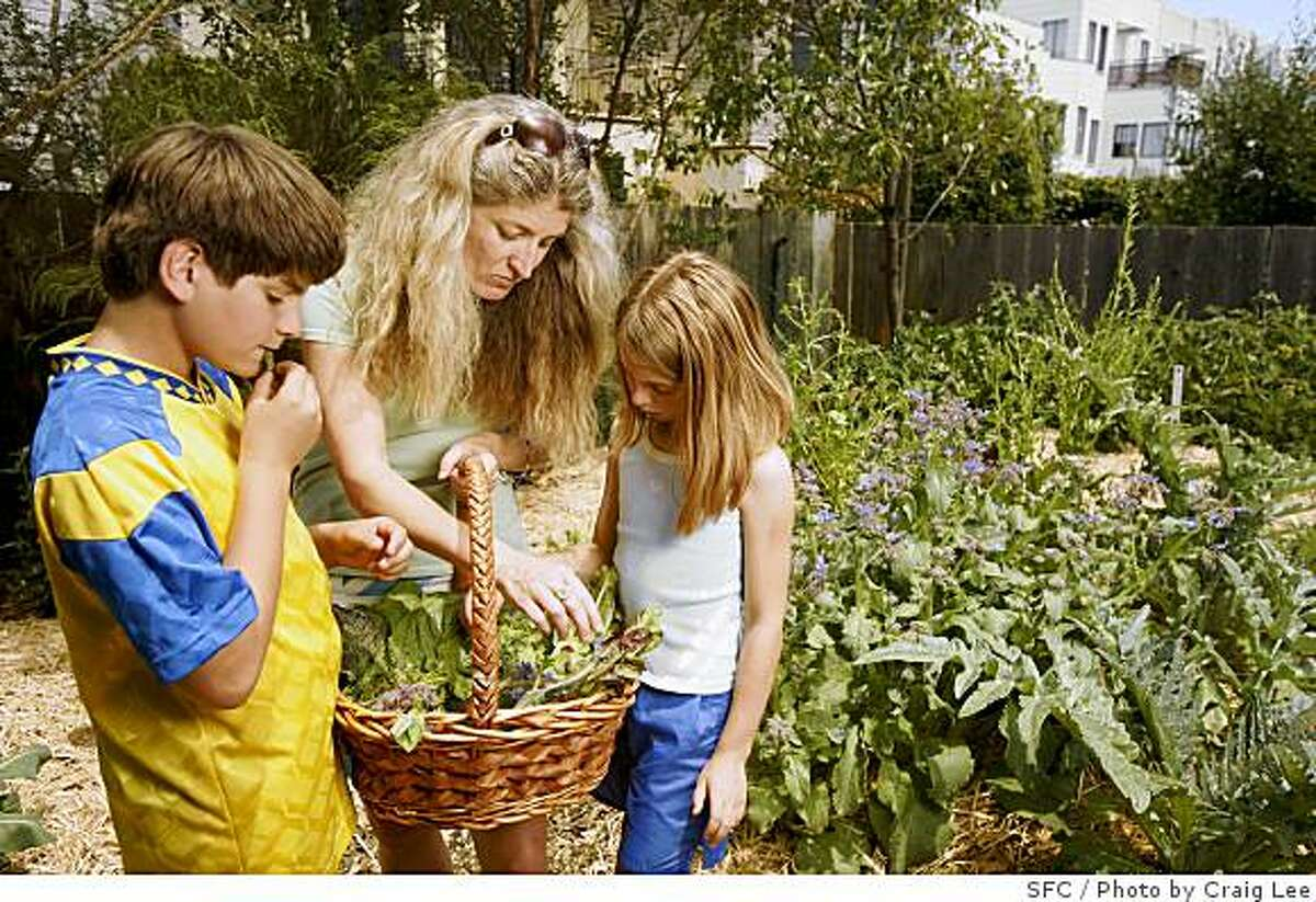 Anne Fisher Vollen and her children, Jake Vollen, 11, (left) and Daisy Vollen, 12, (right), with a basket of produce grown in their backyard by Myfarm in San Francisco, Calif., on June 20, 2008. Myfarm is a new company that installs and maintains vegetable gardens in backyards of homes and built this vegetable garden for Anne Fisher Vollen. Photo by Craig Lee / The Chronicle