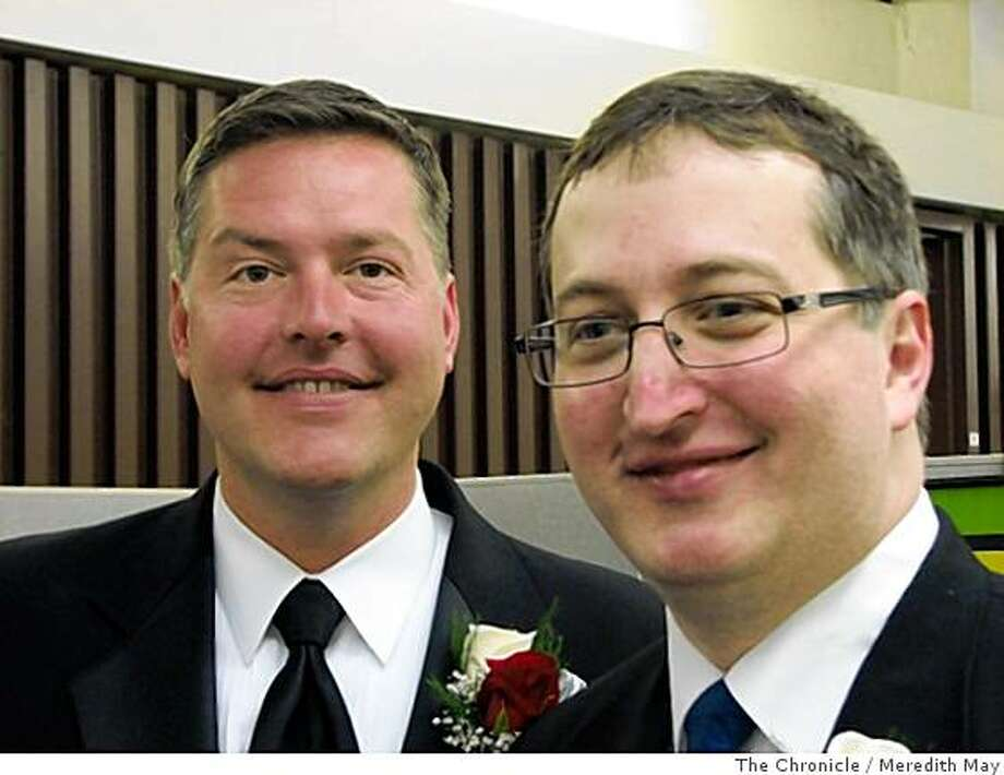 Richard Speakman, 39 (left) and David Speakman, 40, (right) of Mountainview, are among the first same gender couples to marry in San Jose. Photo: Meredith May, The Chronicle