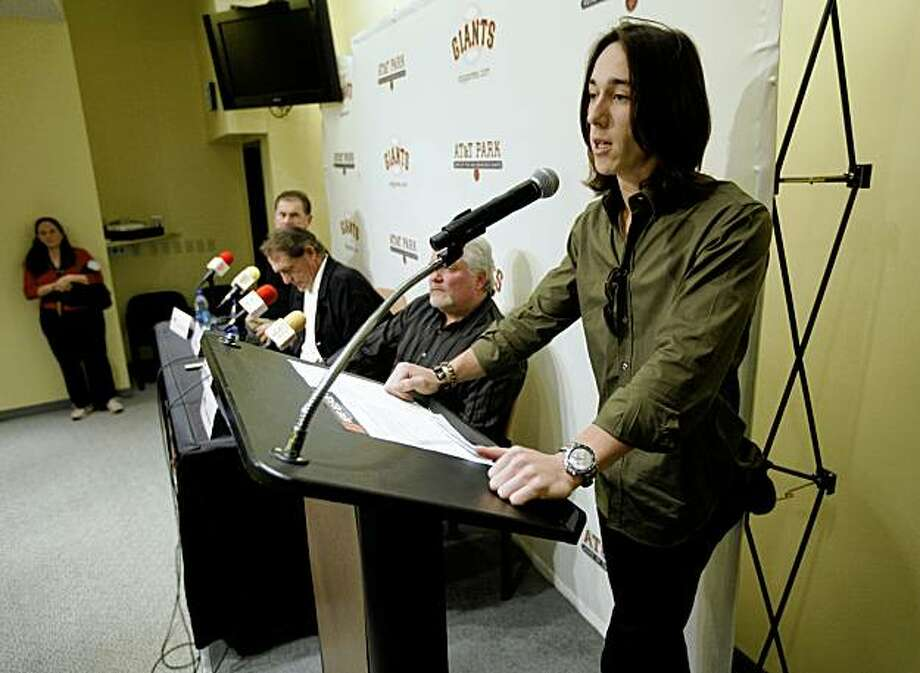 Tim Lincecum of the San Francisco Giants was named the National League Cy young Award winner today for the second straight year. Lincecum attended a news conference at AT&T Ballpark  in  San Francisco, Calif.  on Thursday November 19, 2009. Lincecum reads a statement at the end of the press conference in regards to his marijuana possession charge in Washington State. Photo: Michael Macor, The Chronicle