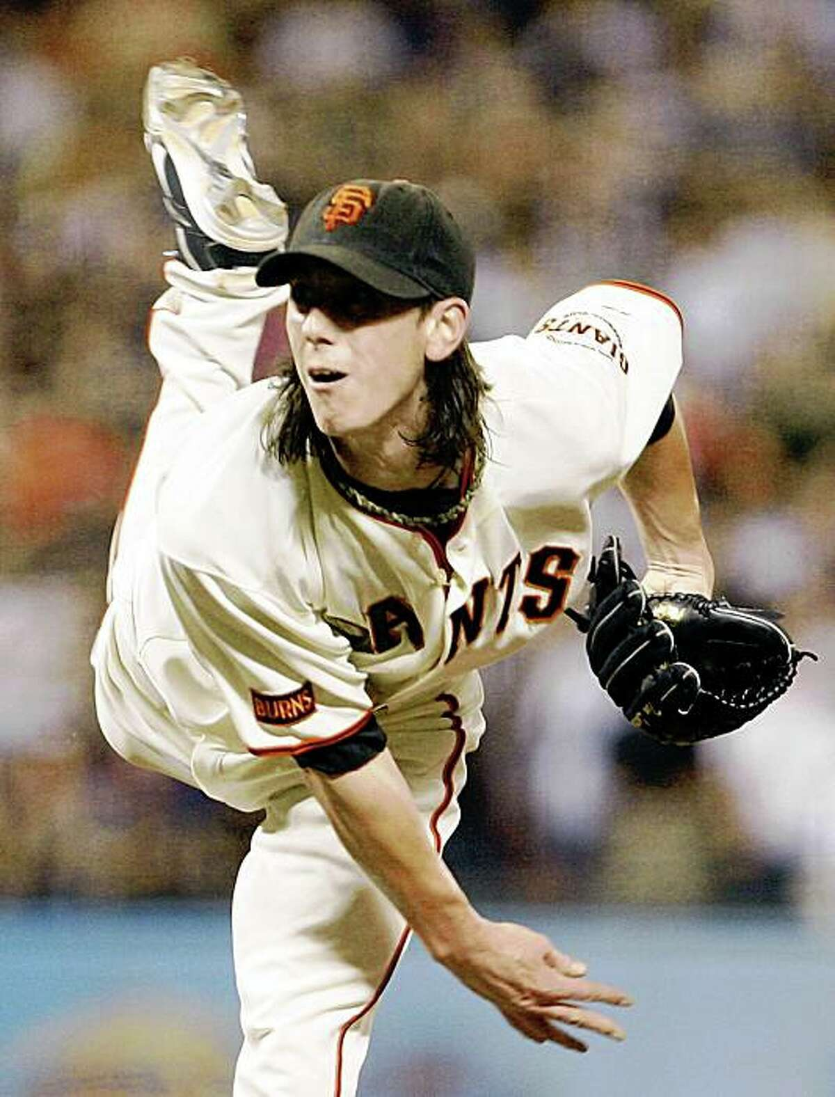 San Francisco Giants' Tim Lincecum works against the Colorado Rockies during the eighth inning of a baseball game Friday, Aug. 28, 2009, in San Francisco. (AP Photo/Ben Margot)