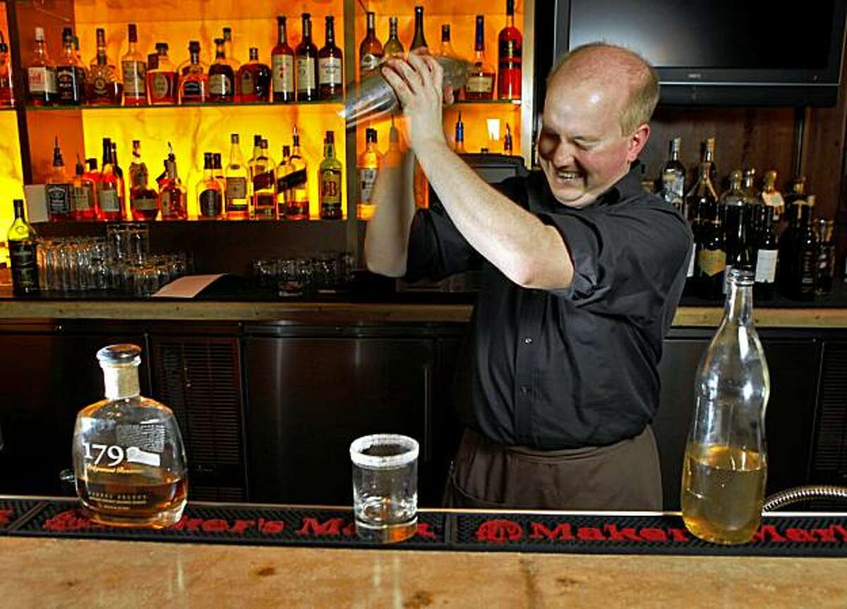 Josh Perry, bar manager of the Pican restaurant, makes a Kentucky Rebel made of Ridgemont 1792 Bourbon, Wednesday Nov. 18, 2009, in Oakland, Calif.