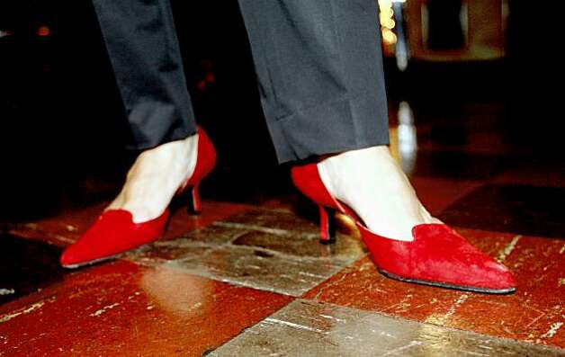 BALI11 Jeanette Etheredge wore her special red party shoes to a celebration at Tosca, a bar in North Beach,  to remember her mother Armen Bali, a San Francisco restauranteur and arts maven who helped Russian dancers and other artists. These pictures were made in San Francisco, CA.  on Wednesday, Jan. 9, 2008.  KATY RADDATZ/The Chronicle Photo: KATY RADDATZ, SFC