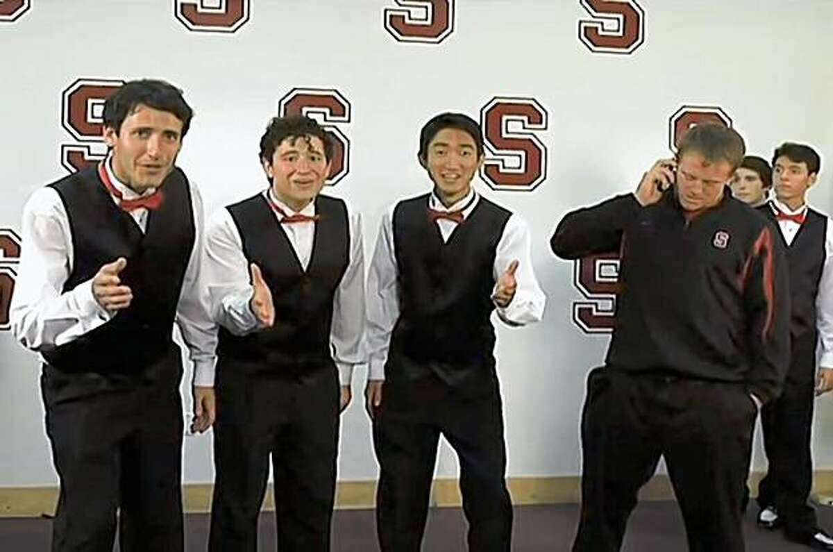 This screen capture from a Stanford Athletics promotional video shows Stanford running back Toby Gerhart trying out for a singing group.