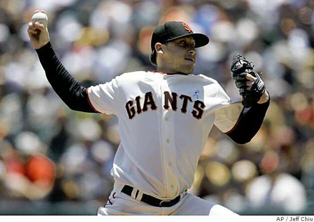 San Francisco Giants' Kevin Correia pitches against the Oakland Athletics in the first inning of a baseball game in San Francisco, Sunday, June 15, 2008. (AP Photo/Jeff Chiu) Photo: Jeff Chiu, AP