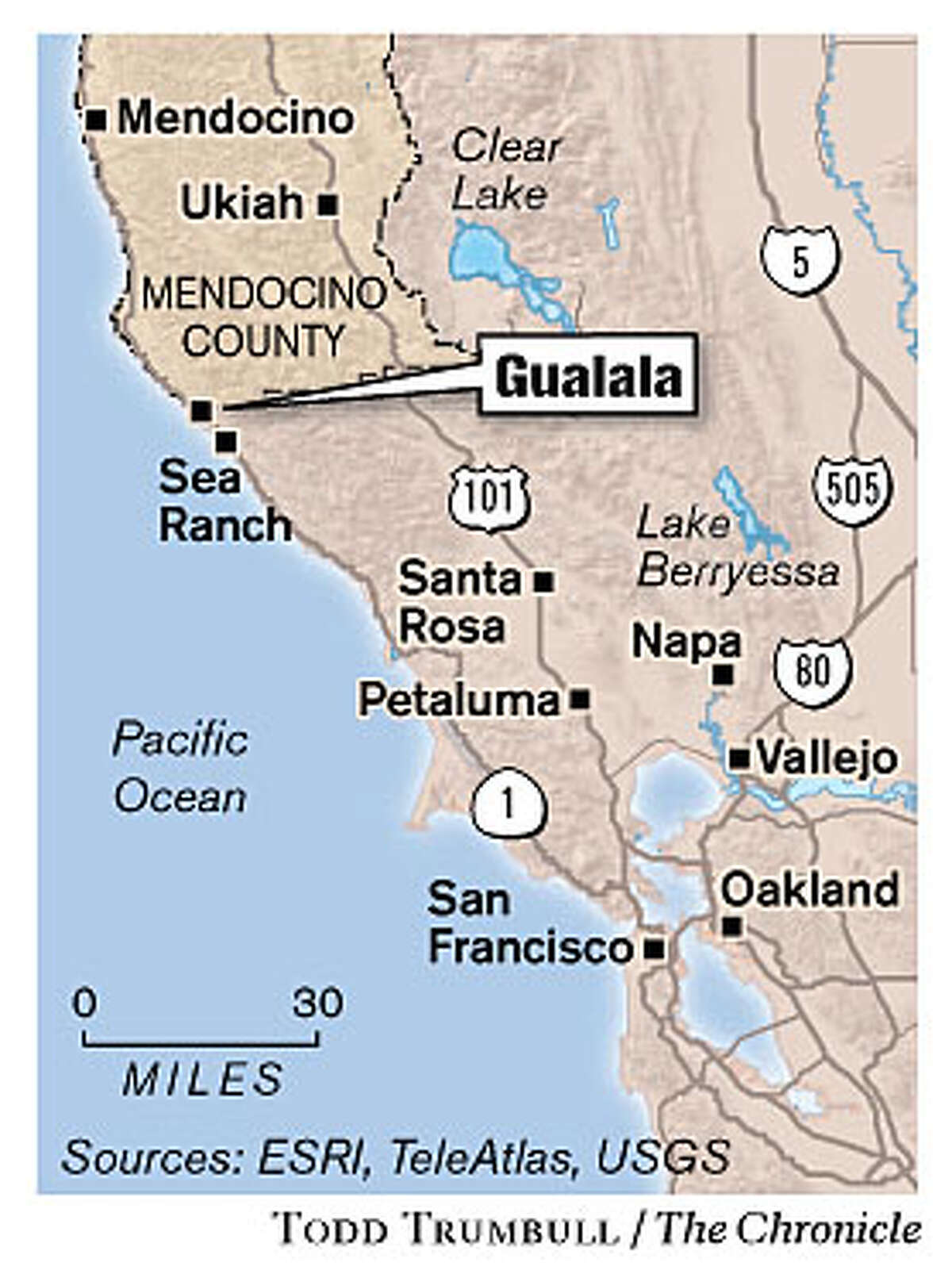 Gualala. Chronicle graphic by Todd Trumbull