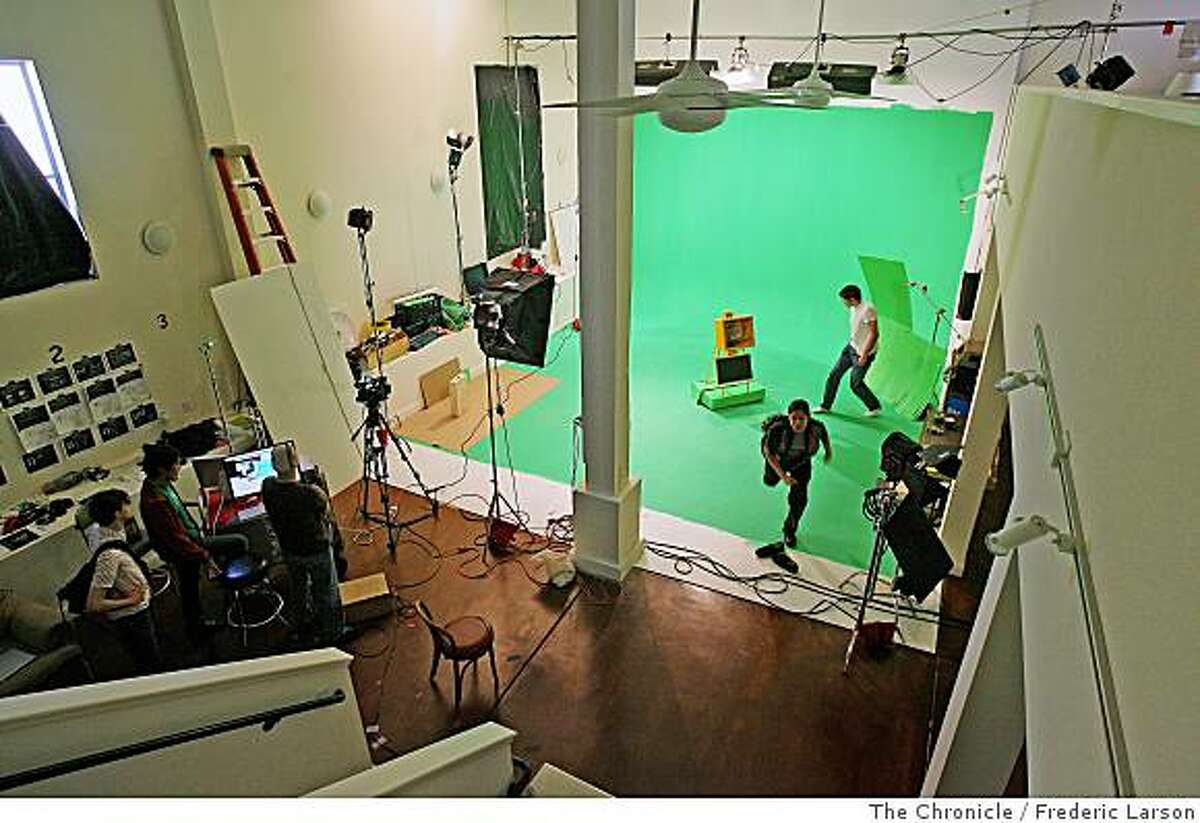A film crew works on the Sony PSP video-ad in the Mission district of San Francisco which the production company