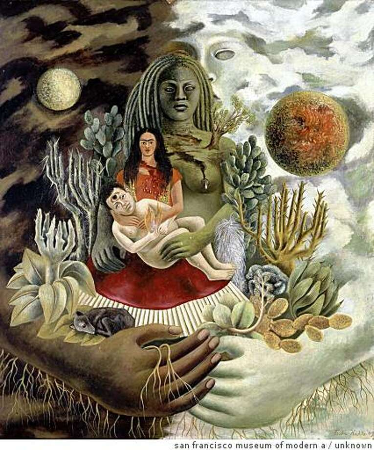 "'The Love Embrace of the Universe, the Earth (Mexico), Diego, Me and Se�or X�lotl [El abrazo de amor del universo, la tierra (M�xico), Diego, yo y el se�or X�lotl]"" (1949) oil on Masonite by Frida Kahlo 27-9/16 x 23-13/16 inches The Jacques and Natasha Gelman Collection of Modern and Contemporary Mexican Art: Courtesy The Vergel Foundation; Muros; Costco / Comercial Mexicana; � 2008 Banco de M�xico, Trustee of the Diego Rivera & Frida Kahlo Museums Trust. Photo: Unknown, San Francisco Museum Of Modern A"