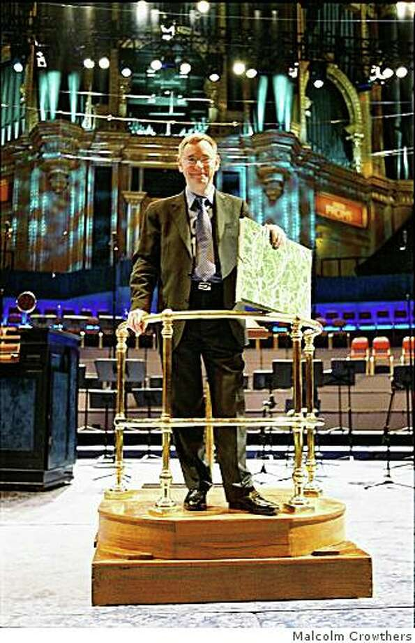 UC Berkeley music professor Davitt Moroney with the score of Alessandro Striggio's 40-voice MassDavitt Moroney's discovery conducted by himself, Striggio 60 part Mass, 1st performance in modern times at BBC Proms 17-July-2007, BBC Singers, Tallis Scholars, His Majestys Sagbutts and Cornetts Photo: Malcolm Crowthers