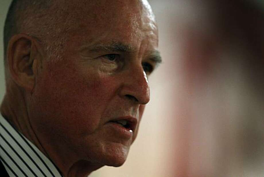 California Attorney General Jerry Brown delivers a keynote address to the Geary Boulevard Merchants Assoiciation in San Francisco, Calif., on Wednesday, Sept. 16, 2009. Photo: Paul Chinn, The Chronicle