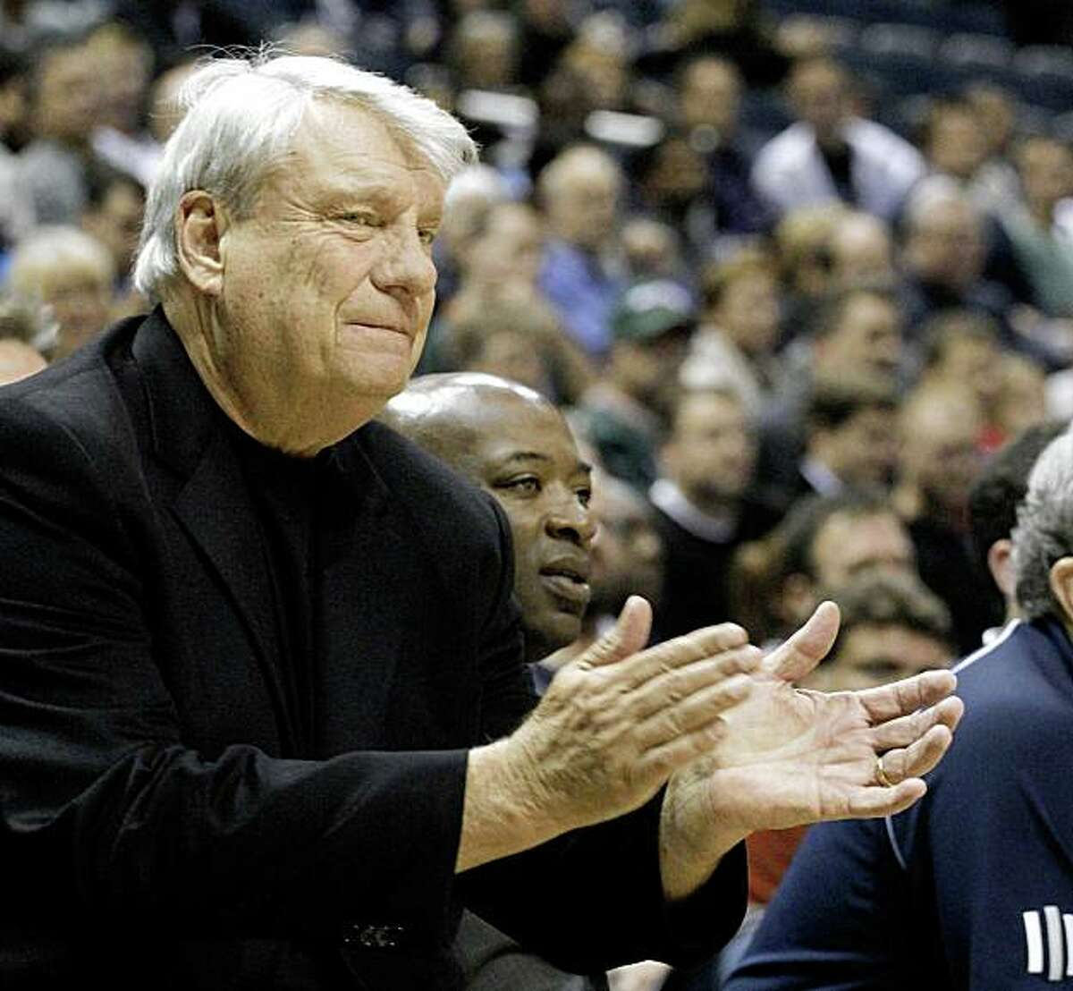 Golden State Warriors Head Coach Don Nelson cheers on his team against the Milwaukee Bucks in the first half of an NBA basketball game Saturday, Nov. 14, 2009, in Milwaukee. (AP Photo/Jeffrey Phelps)