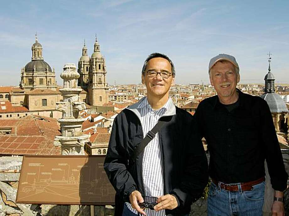 "Roger Fong and Erik Kramvik atop the ""new"" cathedral in Salamanca. Photo: Courtesy, Roger Fong And Erik Kramvik"