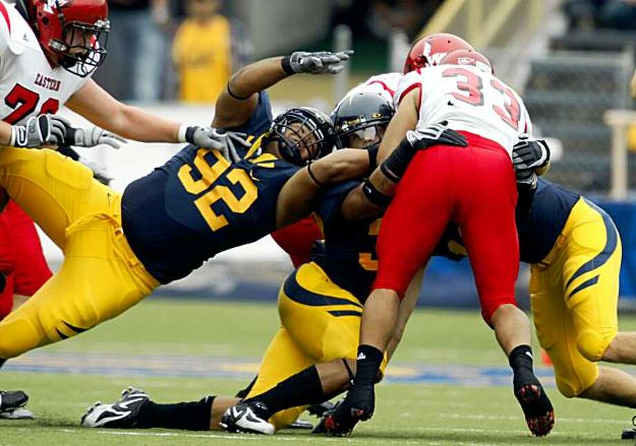 Cal defense including #92 Trevor Guyton controlled the line of scrimmage Saturday. Cal defeated Eastern Washington 59-7 at memorial Stadium in Berkeley Sept 12, 2009. Photo: Lance Iversen, The Chronicle