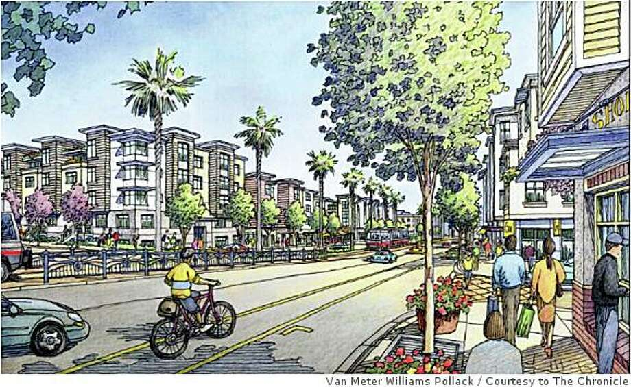 The nearly $600 million plan for the Schlage Lock factory property, along Bayshore Boulevard, includes 1,250 residential units, with 25 percent set aside as affordable, as well as three parks, office space, a grocery store and additional retail. Van Meter Williams Pollack / SF Planning Department Photo: Van Meter Williams Pollack, Courtesy To The Chronicle
