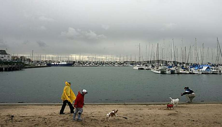 People and dogs walk on the shoreline in Marina Bay Park.  This is for 96 Hours' Urban Outings feature where we hightlight a spot for a walk, hike or quick local getaway. This week: The Richmond Shoreline. Perfect for walking or biking, the Richmond Marina Bay segment of the San Francisco Bay Trail leads you along a string of miniature parks connected by a glistening shoreline with panoramic views of the Bay. Mark Costantini / The Chronicle  Photo taken on 1/25/08, in Richmond, CA, USA Photo: Mark Costantini, The Chronicle