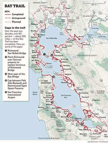 Completing the Bay Trail has many miles to go - SFGate on lake del valle trail map, santa cruz mountains trail map, joaquin miller park trail map, upper tampa bay trail map, lake lopez campsite map, marin county trail map, liberty state park trail map, eel river trail map, torrey pines state reserve trail map, hollywood trail map, ventura river trail map, monterey bay trail map, united states trail map, three creek lake oregon map, south lake tahoe trail map, china camp state park trail map, la jolla trail map, wissahickon valley park trail map, mokelumne coast to crest trail map, bay bridge bike trail map,